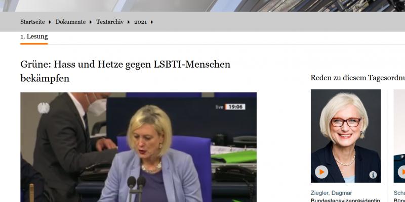 Screenshot Anhörung Antrag Bundestag zu Hass und Hetze gegen LGBTI