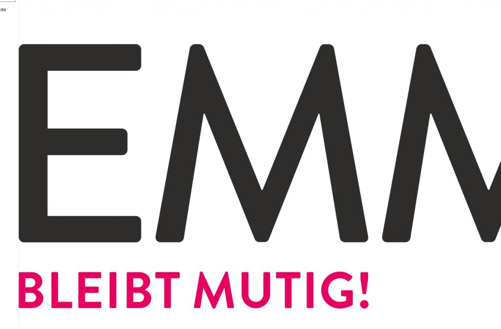 """Ausschnitt des Logos und Claims der Zeitschrift EMMA """"BLEIBT MUTIG"""""""