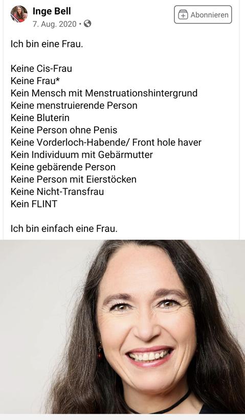Inge Bell postet auf Facebook, dass sie nur eine Frau sei